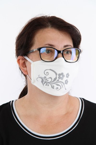 Reusable cotton protective mask 2 layer, creamy color, size L