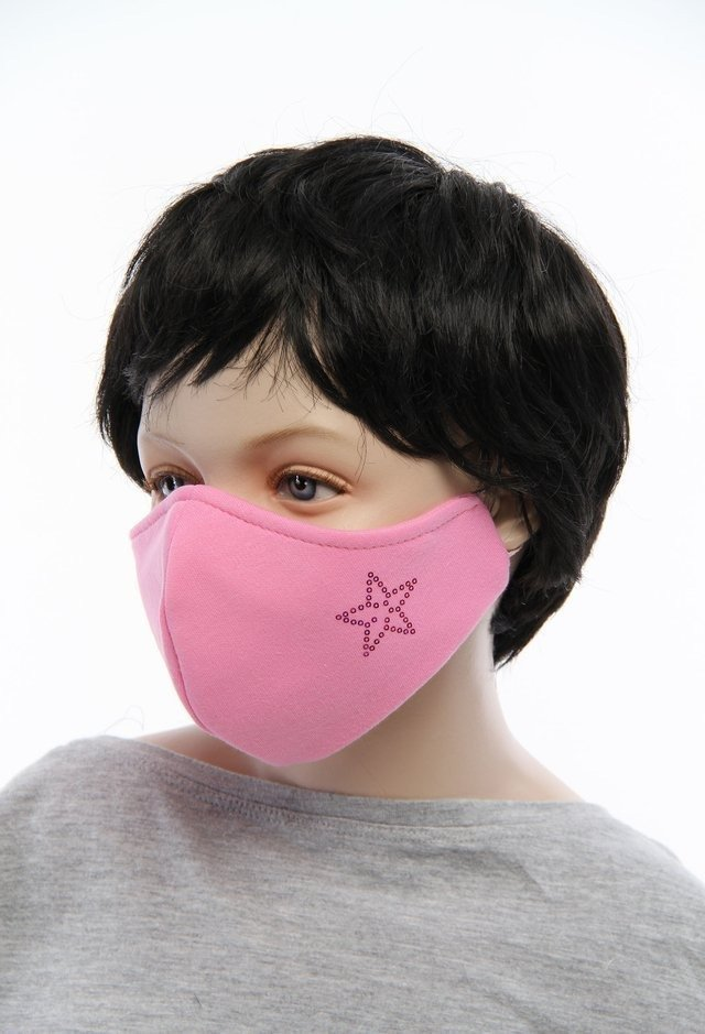 CHILDREN'S reusable protective cotton mask 3-layer pink shark